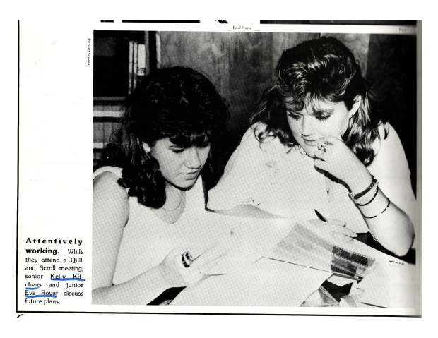 Eva Smith and Kelly Kitchens working on Houston High School Year Book in 1986. Photo credit: